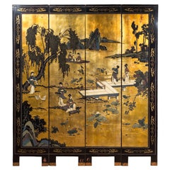 Antique Chinese 19th Century Black Lacquer Gilt Polychrome Four-Panel Screen