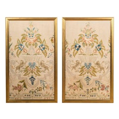 Pair of Large European 18th Century Silk Neoclassical Embroidered Panels