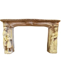 16th Century Sandstone Late Gothic Style Portuguese Fireplace Mantle