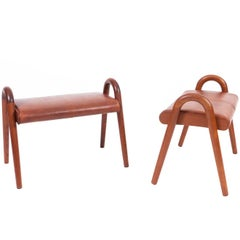 Vilhelm Lauritzen Pair of Teak Stools with Leather Seat
