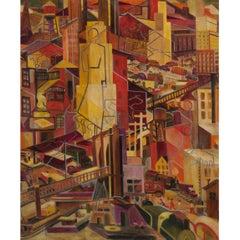 WPA Cubist City Scene Oil Painting Outsider Art