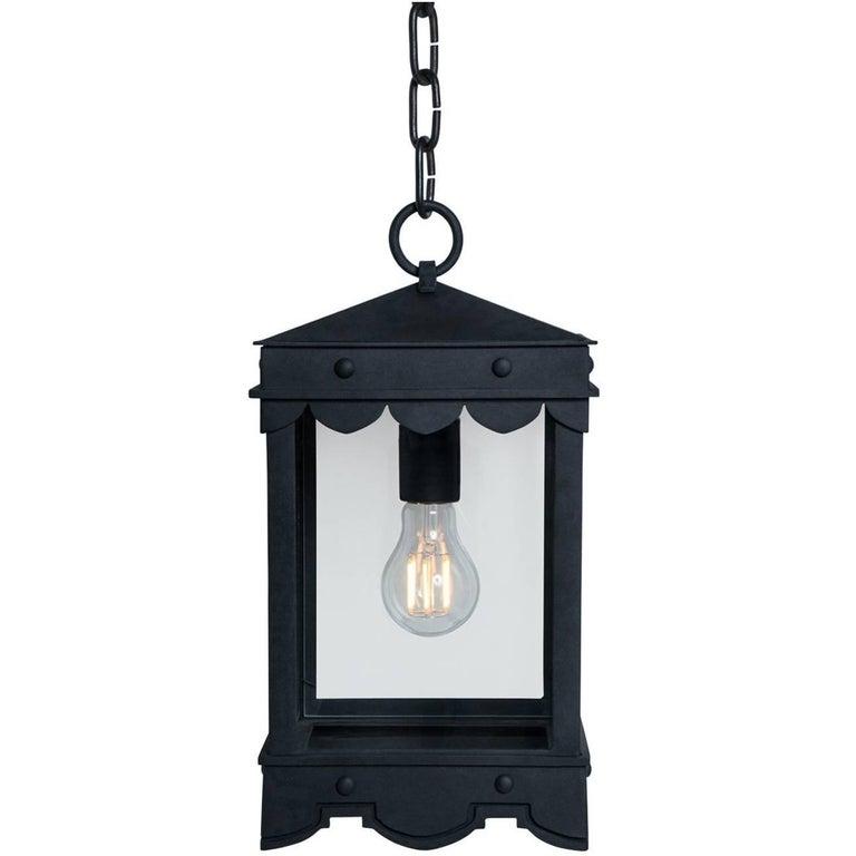 Contemporary Detailed Mediterranean Style Pendant, Iron Lantern For Sale
