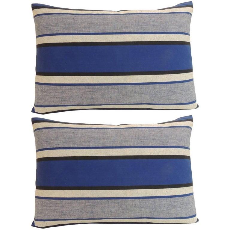 Pair of Antique French Indigo Decorative Bolster Pillows
