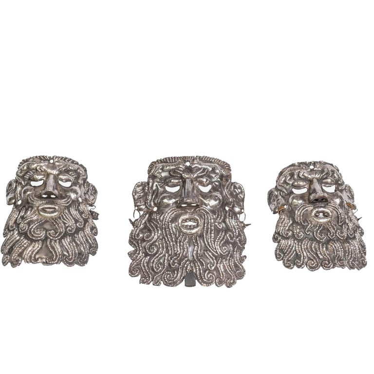 19th Century Silver Ceremonial Masks from Guerrero Mexico