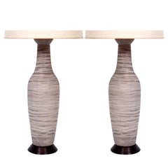 Large Pair of Pottery Table Lamps by Design Technics