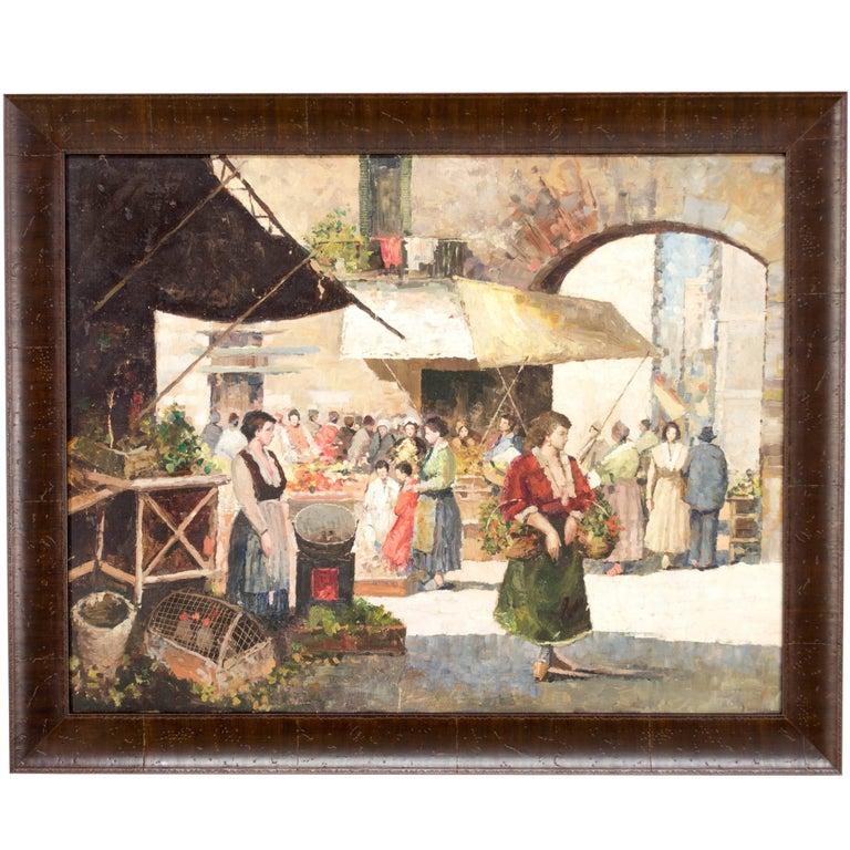 French Market Scene Oil Painting