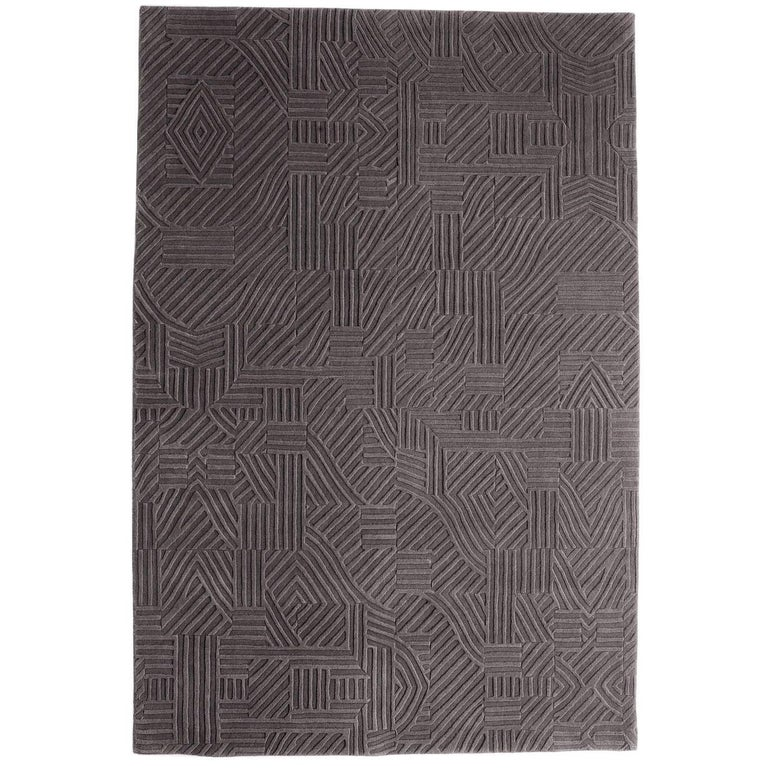 African Pattern One Area Rug In Hand Tufted Wool By Milton Glaser Medium For Sale At 1stdibs