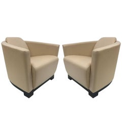 Pair of Modern Italian Leather Club Chairs