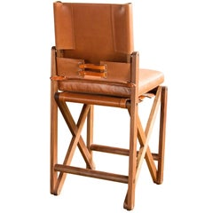 Maclaren Armless Counter and Bar Chair or Bar Stool in Tan Leather Upholstery