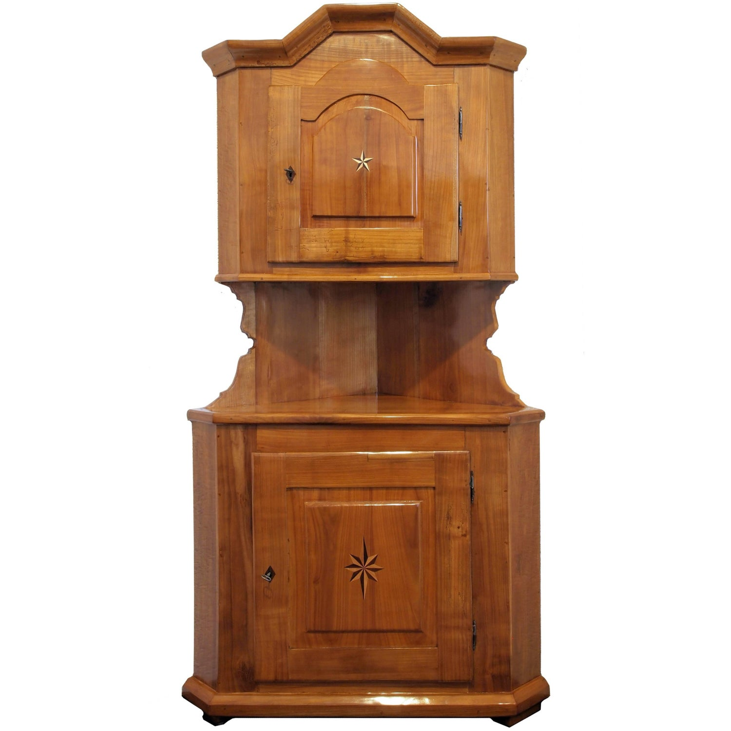 Antique kitchen corner cabinets - 19th Century Cherry Wood Biedermeier Corner Cabinet Or Cupboard