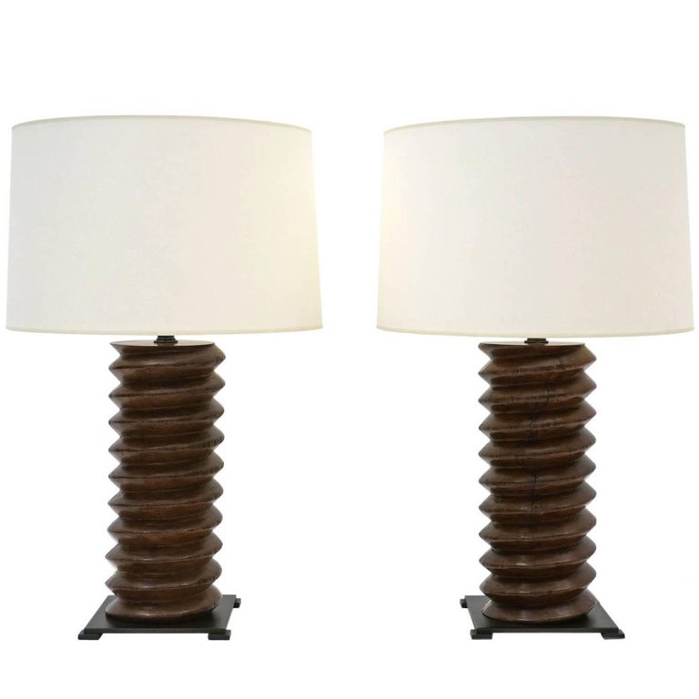 Pair of Antique Wine Press Twisted Wood Table Lamps on Iron Bases