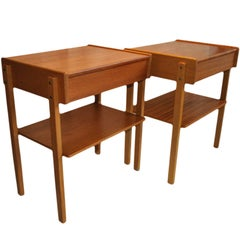 Danish Midcentury Nightstands, Bedside/End Tables