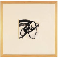Unique Handmade Contemporary Framed Abstract Painting on Paper with India Ink
