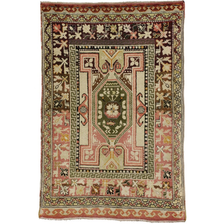 Foyer Rugs Sale : Vintage turkish oushak rug with modern style entry or