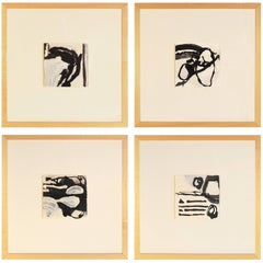 Handmade Contemporary Set of Four Framed Abstract India Ink Paintings on Paper