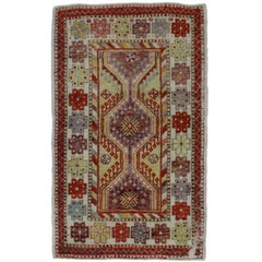 Vintage Turkish Oushak Rug, Anatolian Yuntdag Rug, Foyer or Entry Rug