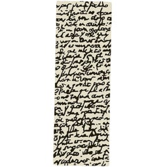 Black on White Manuscrit Hand-Tufted Wool Runner by Joaquim Ruiz Millet