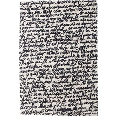 Black on White Manuscrit Hand-Tufted Wool Rug by Joaquim Ruiz Millet Large