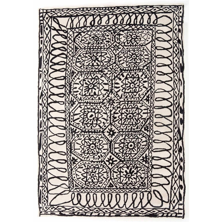 Black on White Estambul Hand-Tufted Wool Rug by Javier Mariscal Large For Sale