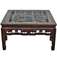 Square Asian Coffee Table with Antique Longevity Screen