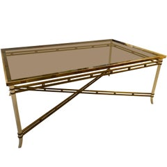 Brass with Smoked Glass Dining Table, France, Midcentury