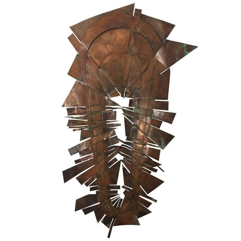 Brutalist Copper Wall Sculpture I by Sergei Gritsay