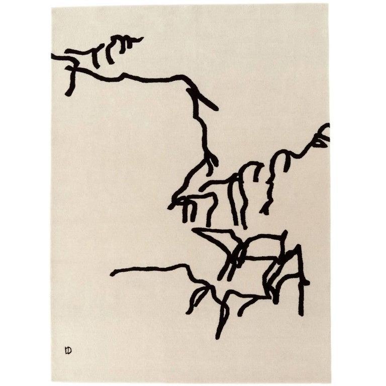 Dibujo Tinta 1957 Hand-Tufted Wool Area Rug by Eduardo Chillida For Sale