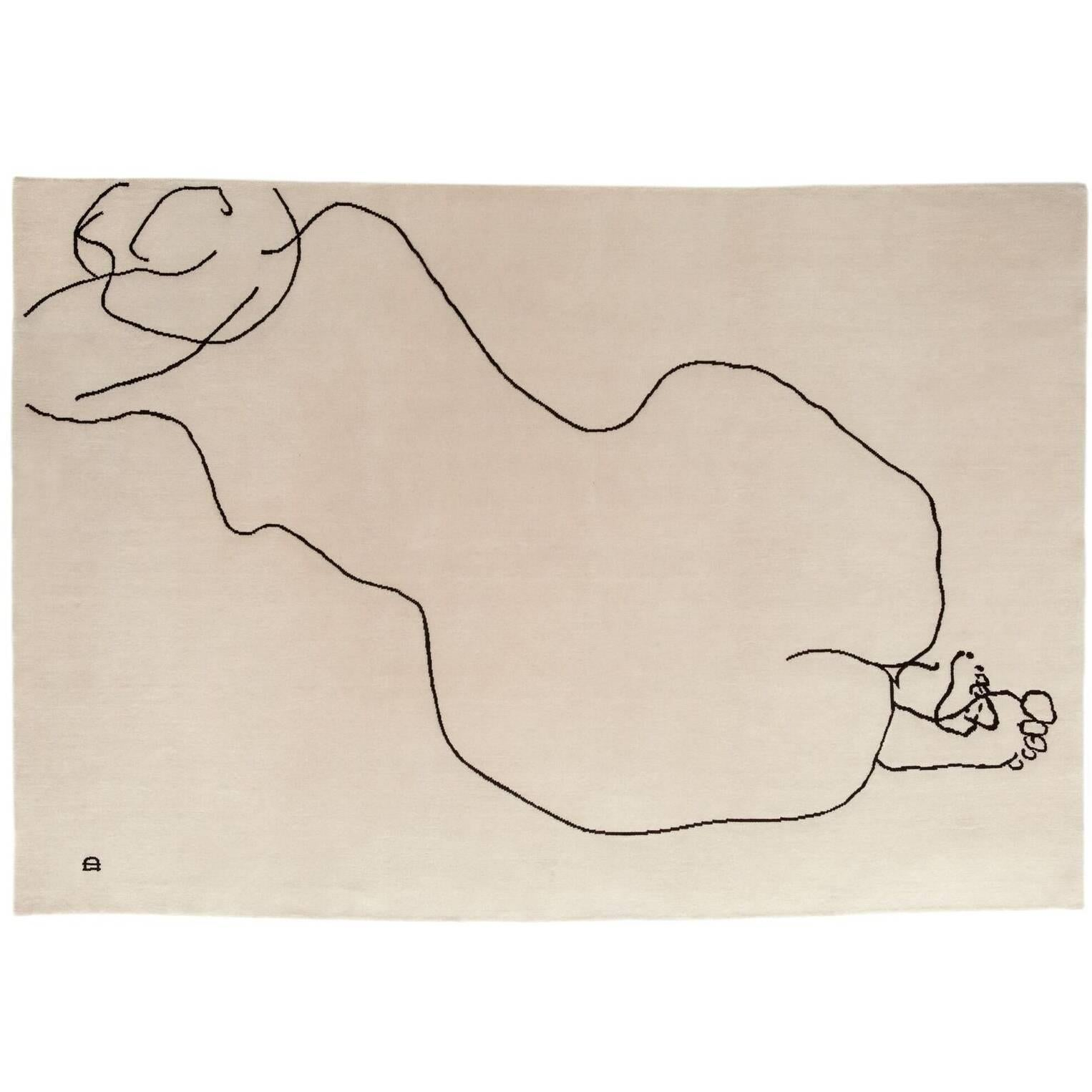 Figura Humana 1948 Hand-Knotted Wool Area Rug by Eduardo Chillida