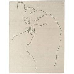 Mano 1993 Hand-Loomed Wool Rug by Eduardo Chillida