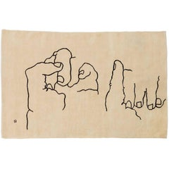 Manos 1995 Hand-Knotted Wool Rug by Eduardo Chillida in Stock