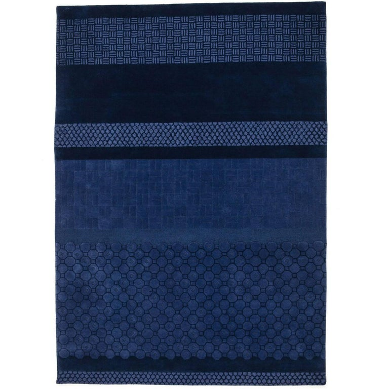 Blue Jie Hand-Tufted Wool Area Rug by Neri & Hu Large For Sale