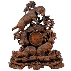 Black Forest Swiss Hand-Carved Wooden Musical Clock with Hound and Hare