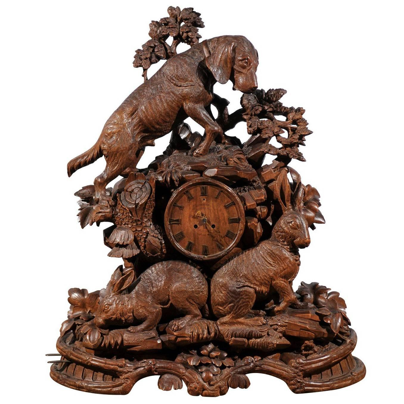 black forest swiss handcarved wooden musical clock with hound and hare 1