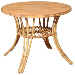 French Round Rattan Table with Pedestal Base and Splayed Legs