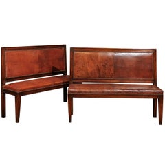 Pair of English 19th Century Mahogany and Leather Benches with Nail Head Trim