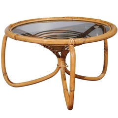 French 1970s Bamboo Drinks Table with Glass Top and Looped Legs