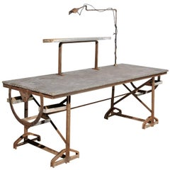 French 1890s Industrial Iron and Zinc Work Table with Shelves and Task Light