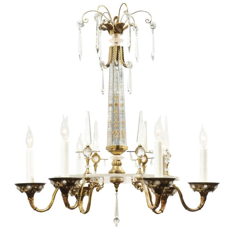 French Hollywood Regency Bronze and Lucite Six-Light Chandelier, Baguès Style