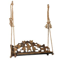 Black Forest 1890s Carved Bench with Bear Motif Made into a Swing, Switzerland