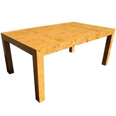 Modern Burled Wood Parson Style Dining Table by Milo Baughman, 1960s