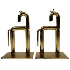 Art Deco Walter Von Nessen Chase Brass Pair Horse Bookends
