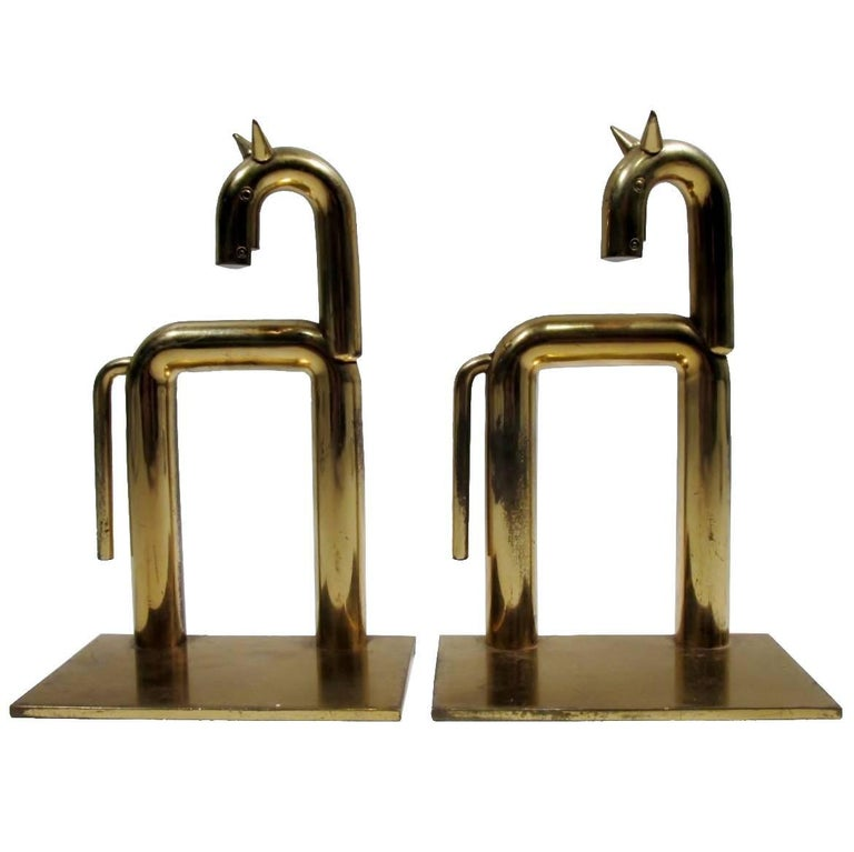 Art Deco Walter Von Nessen Chase Brass Pair Horse Bookends  1