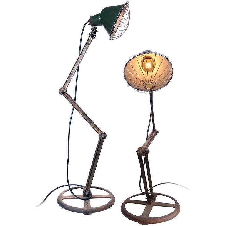 Matching Pair of Save-Light Industrial Floor Lamps
