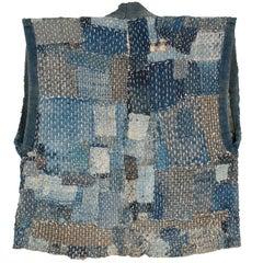 Late 19th Century Indigo-Dyed Cotton Patchwork Farmer's Vest, Japan