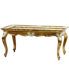 19th Century Venetian Rococo Hand-Painted and Giltwood Table