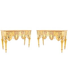Pair of Venetian Painted and Carved Console Tables
