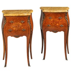 Pair of French Late 19th Century Marquetry Petit Commodes