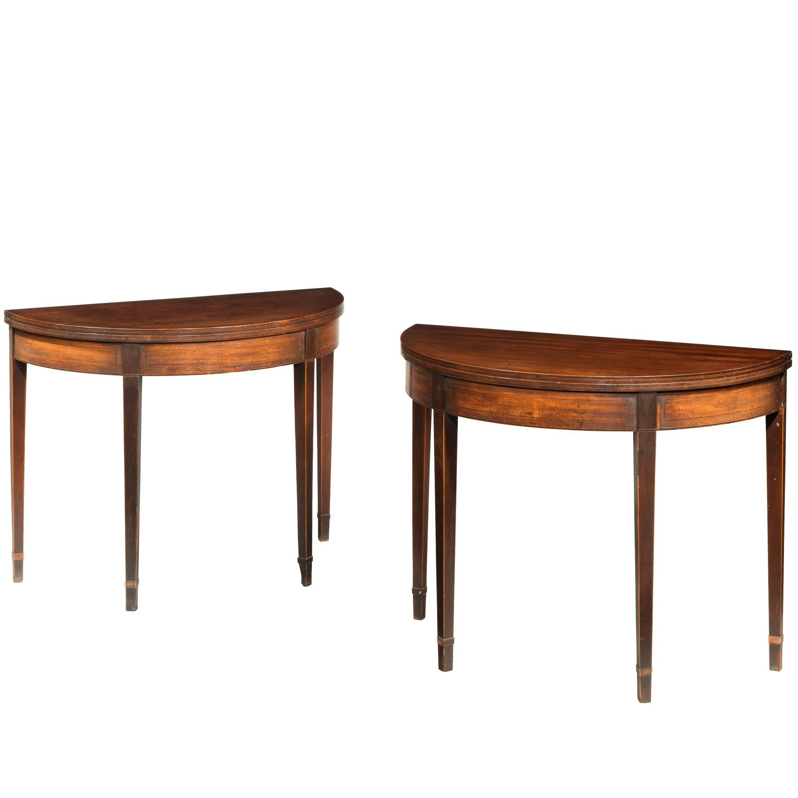 Pair Of George III Period Mahogany Demilune Card Tables With Fine Line Inlay
