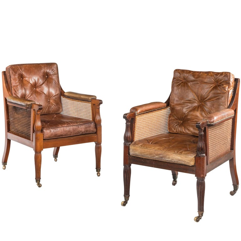 Pair of Regency Period Bergere Armchairs Retaining the Original Canework