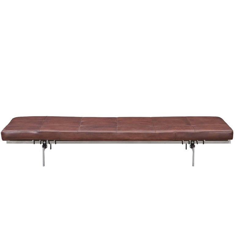 1950s Brown Leather and Steel Base Daybed by Poul Kjaerholm
